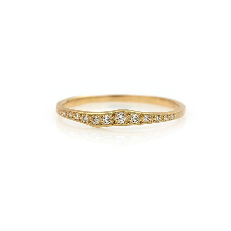18k Diamond Ripple Half Eternity Band - LoveAudryRose.com