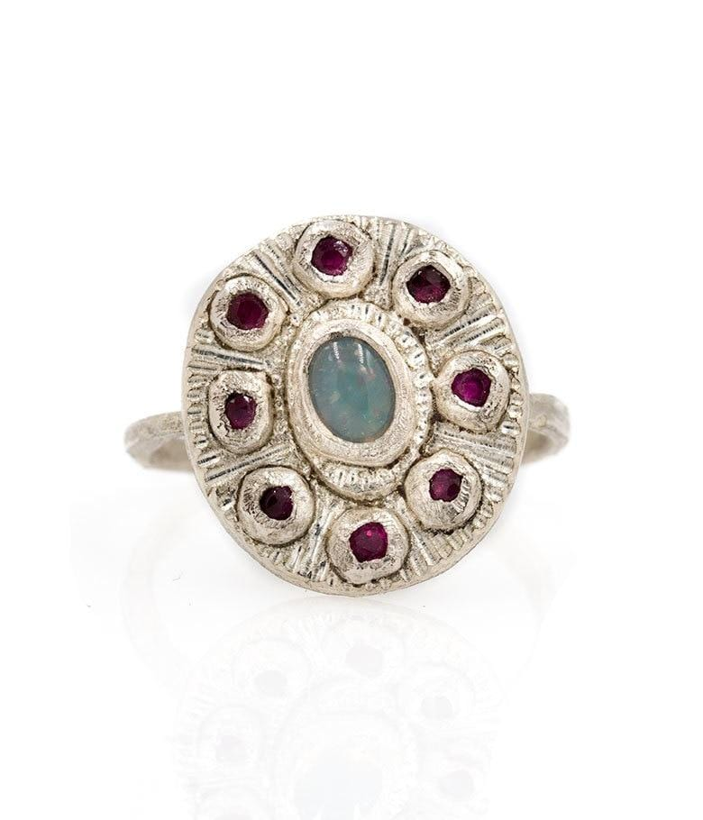 Sterling Silver Opal Ruby Halo Ring