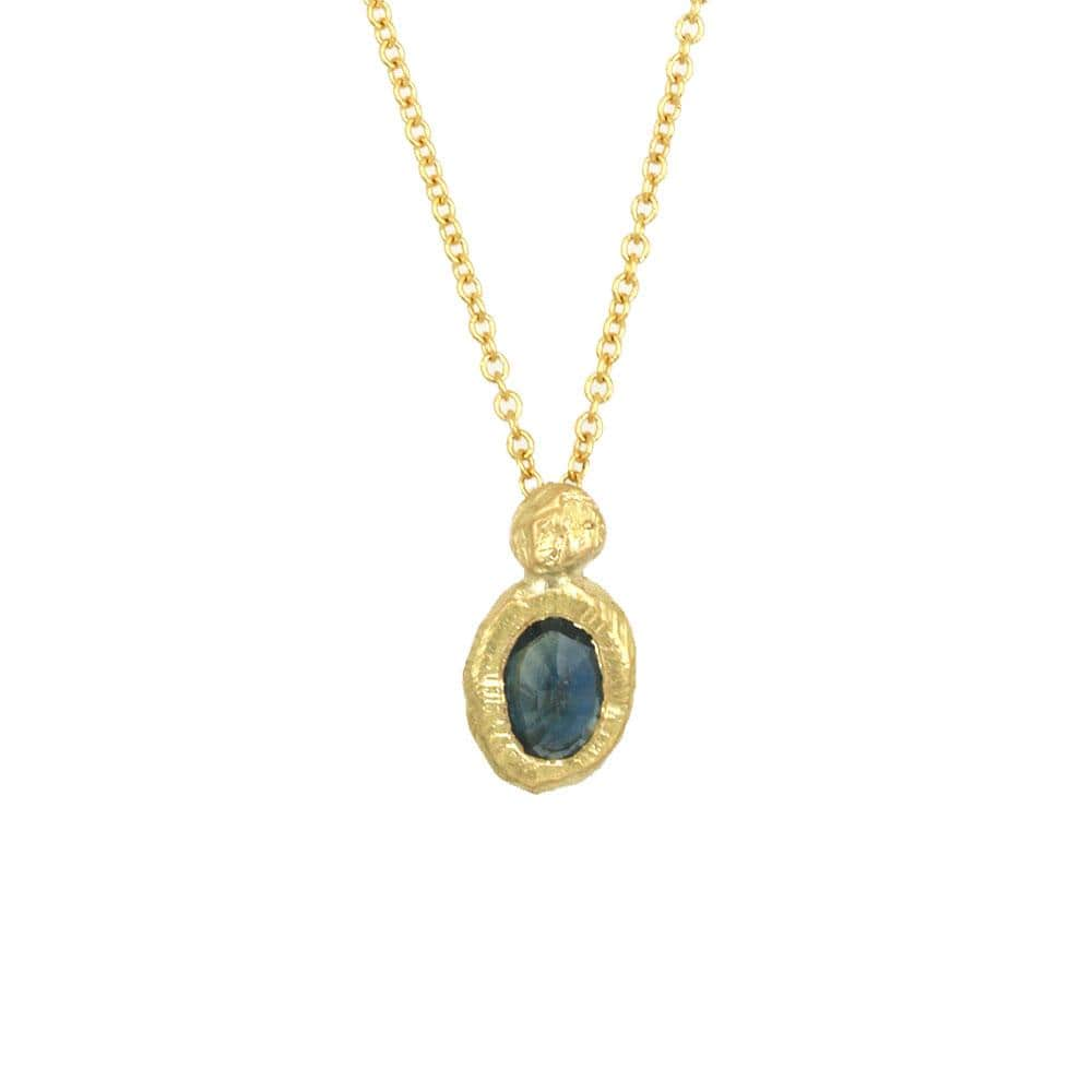 18k Oval Teal Sapphire Necklace