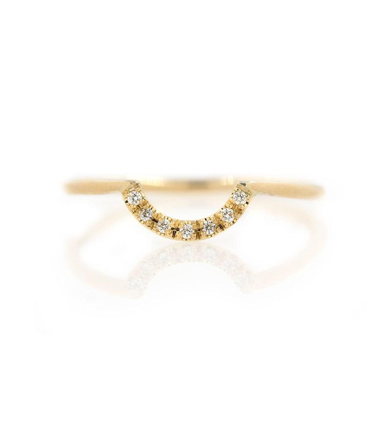 Rounded Pave Diamond Arch Ring - LoveAudryRose.com