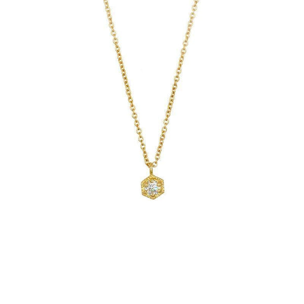 18k Diamond Hexagon Necklace - LoveAudryRose.com