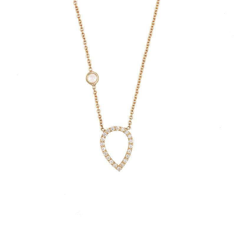 Hallow Teardrop Diamond Necklace