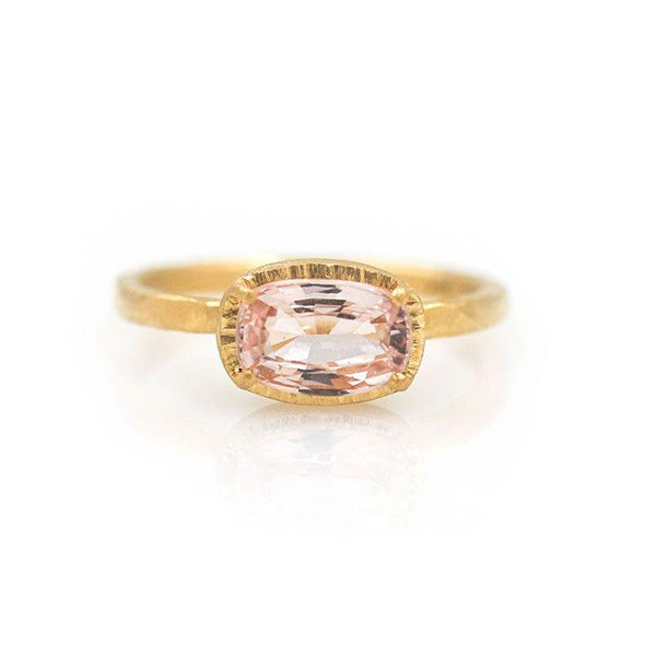 18k Peach Sapphire Solitaire Ring - LoveAudryRose.com