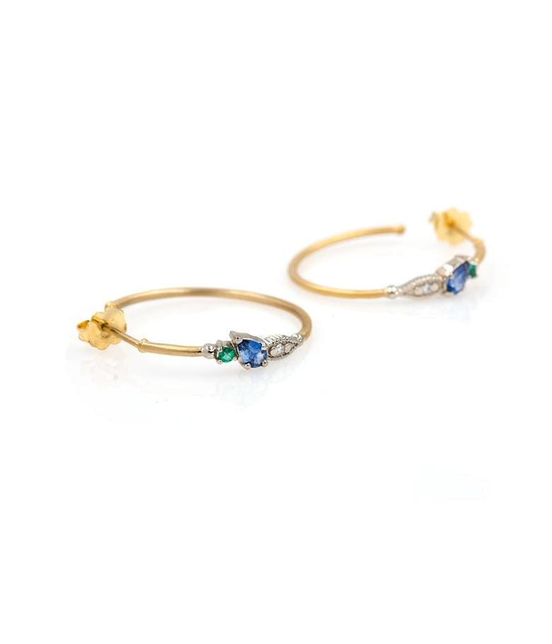 18k Two Toned Gemstone Hoops
