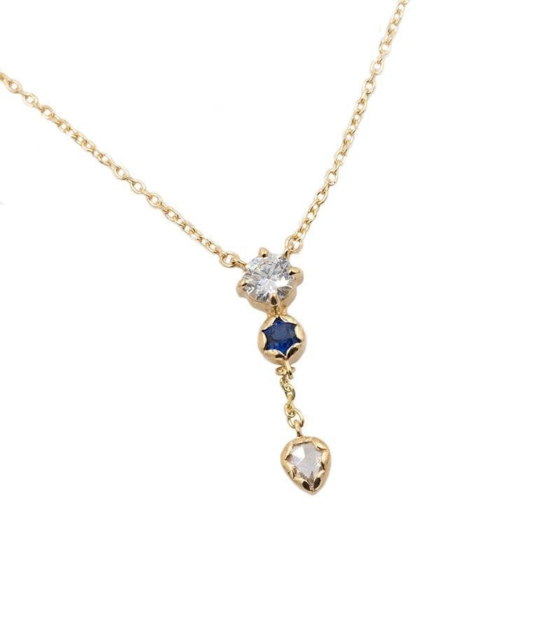 18k Diamond and Blue Sapphire Lariat Necklace