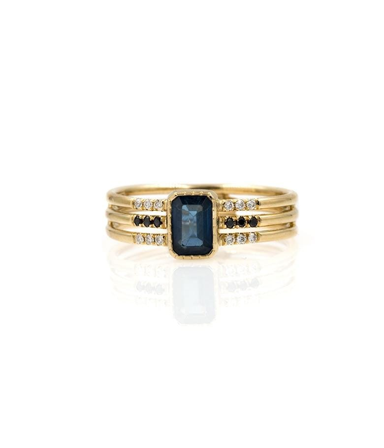 Triple Band Sapphire and Diamond Ring