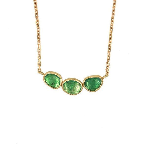 18k Triple Emerald Orbit Necklace