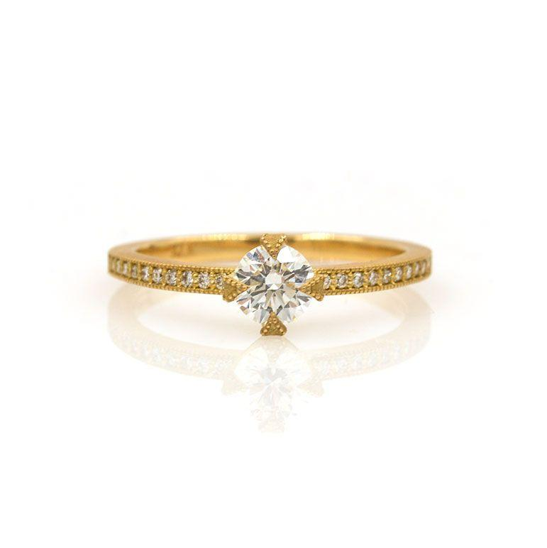 18k Milgrain Prong Diamond Ring - LoveAudryRose.com