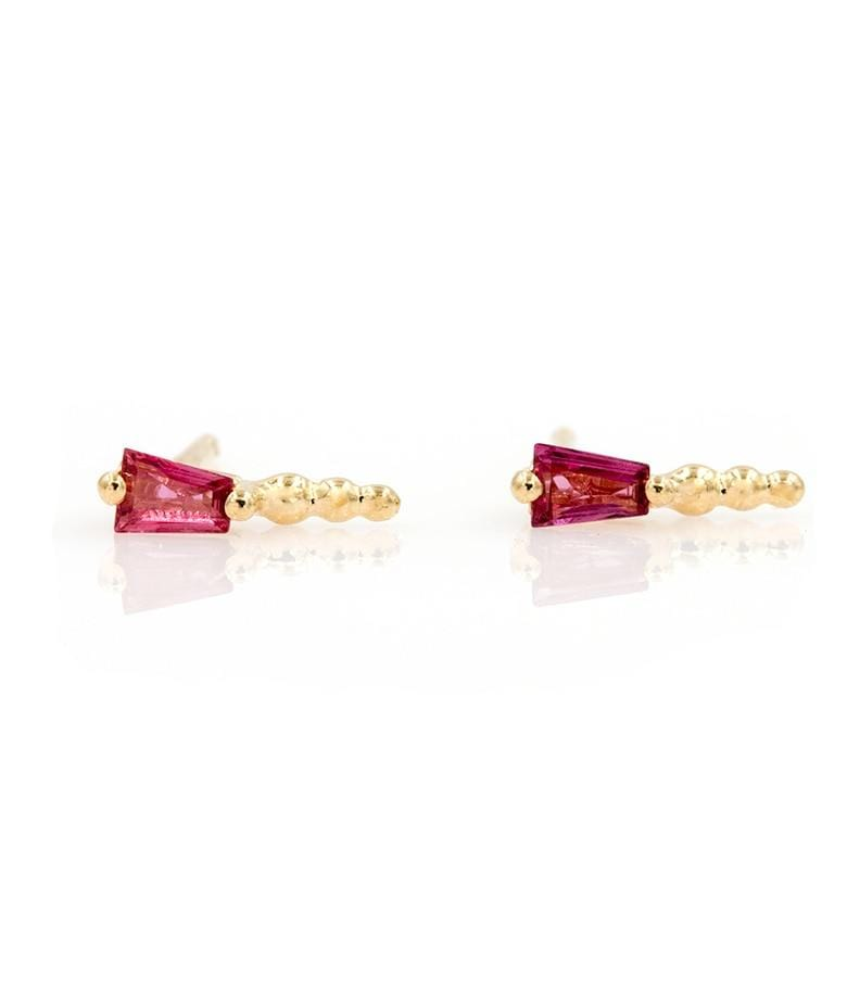 Tapered Baguette Ruby Studs