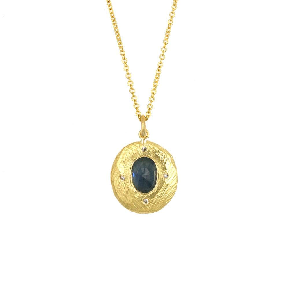 18k Sapphire Halo Necklace