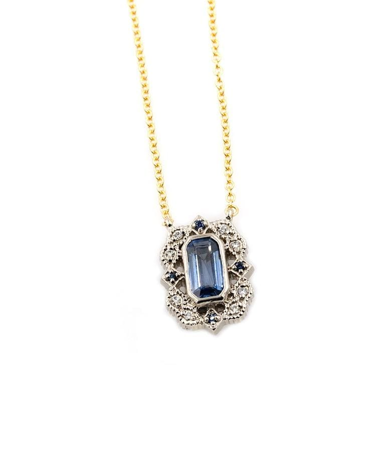 18k Two Toned Sapphire Frame Pendant