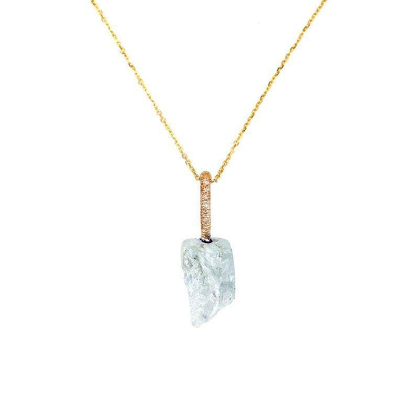 Aquamarine Diamond Bail Necklace