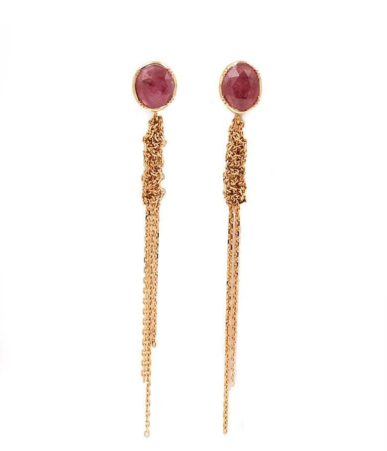 Waterfall Pink Sapphire Earrings - LoveAudryRose.com