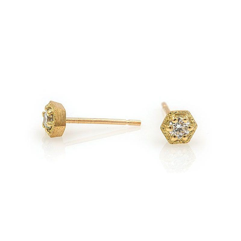 18k Diamond Hexagon Studs - LoveAudryRose.com