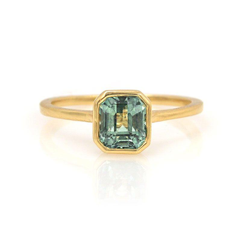 Teal Sapphire Cathedral Ring - LoveAudryRose.com