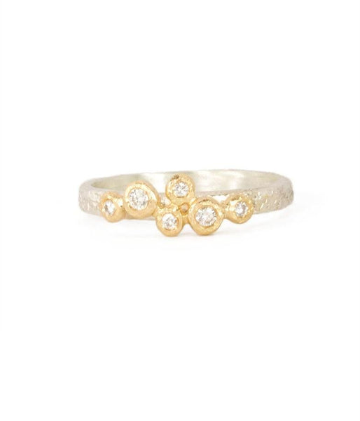 Six Diamond Bezel Textured ring - LoveAudryRose.com