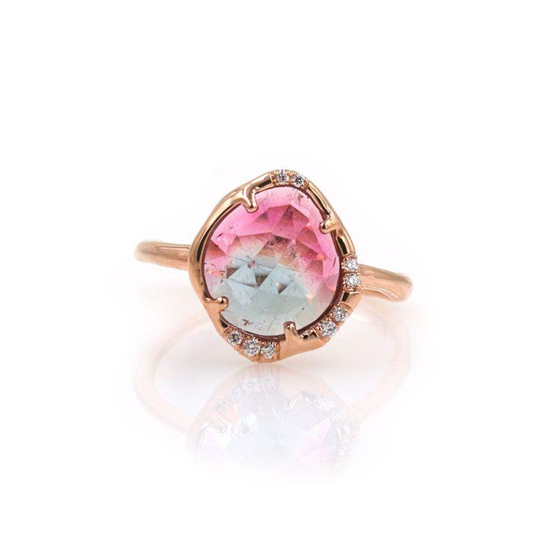 Pink and Blue Tourmaline Aphenos Ring