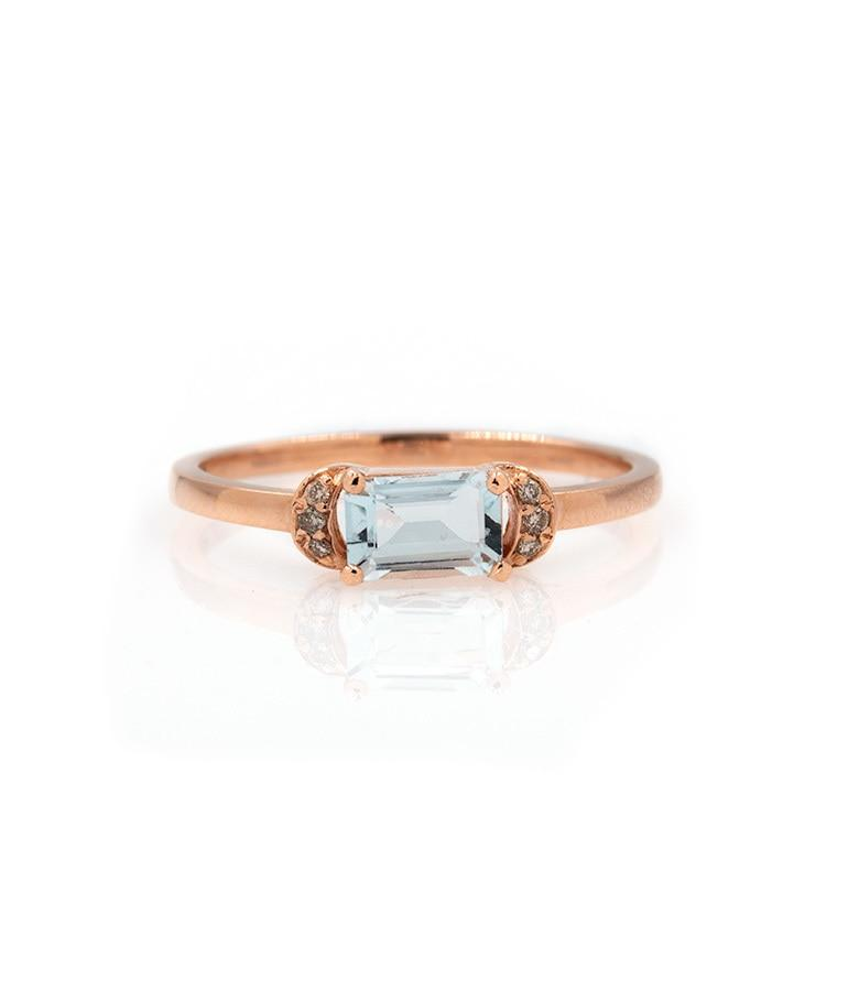Aquamarine Crescent Ring - LoveAudryRose.com