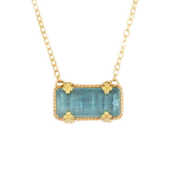 18k Rectangle Aquamarine Golden Cluster Necklace