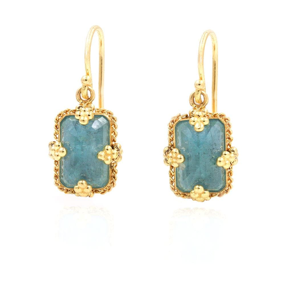 18k Aquamarine Golden Cluster Earrings
