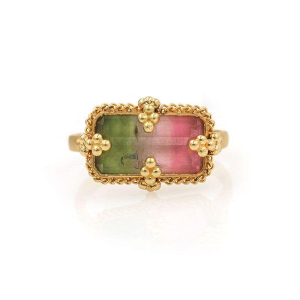 Tourmaline Watercolor Beaded Ring - LoveAudryRose.com
