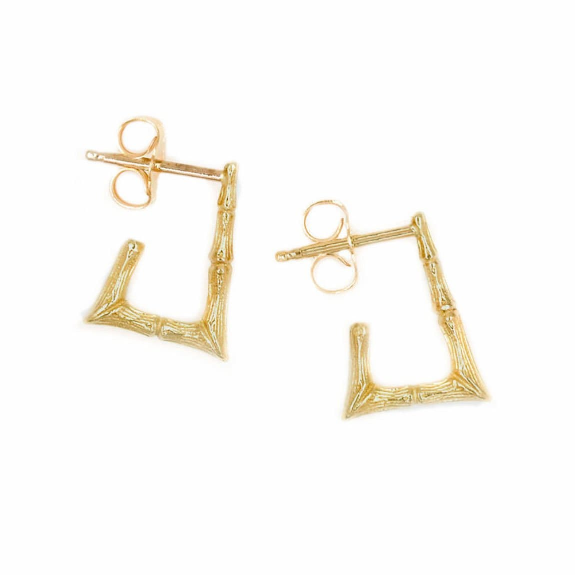 Mini Rectangular Bamboo Hoop Earrings