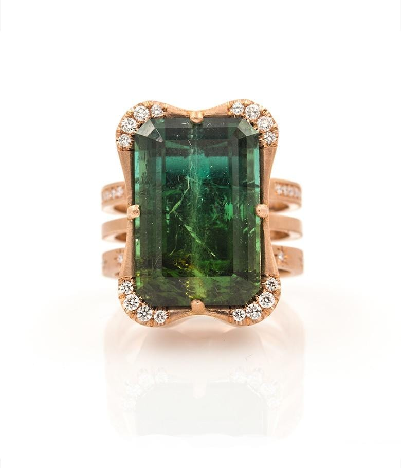 18k Large Emerald Cut Tourmaline Ring