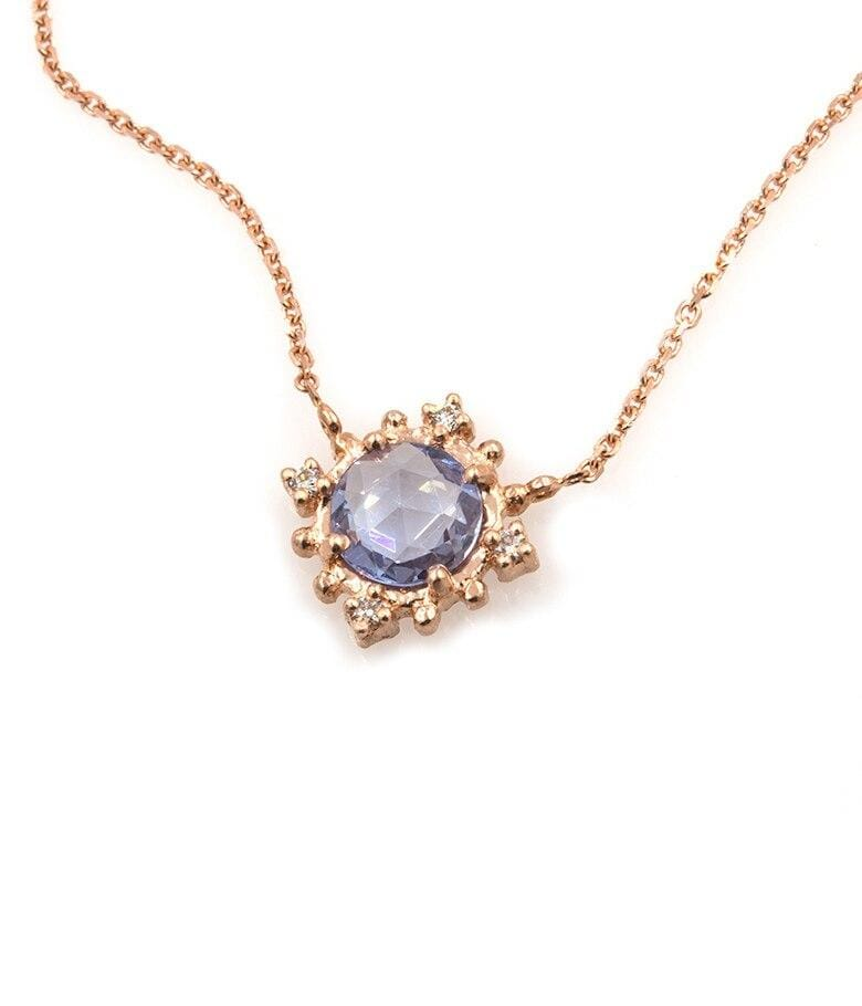 Blue Sapphire and Diamond Burst Necklace