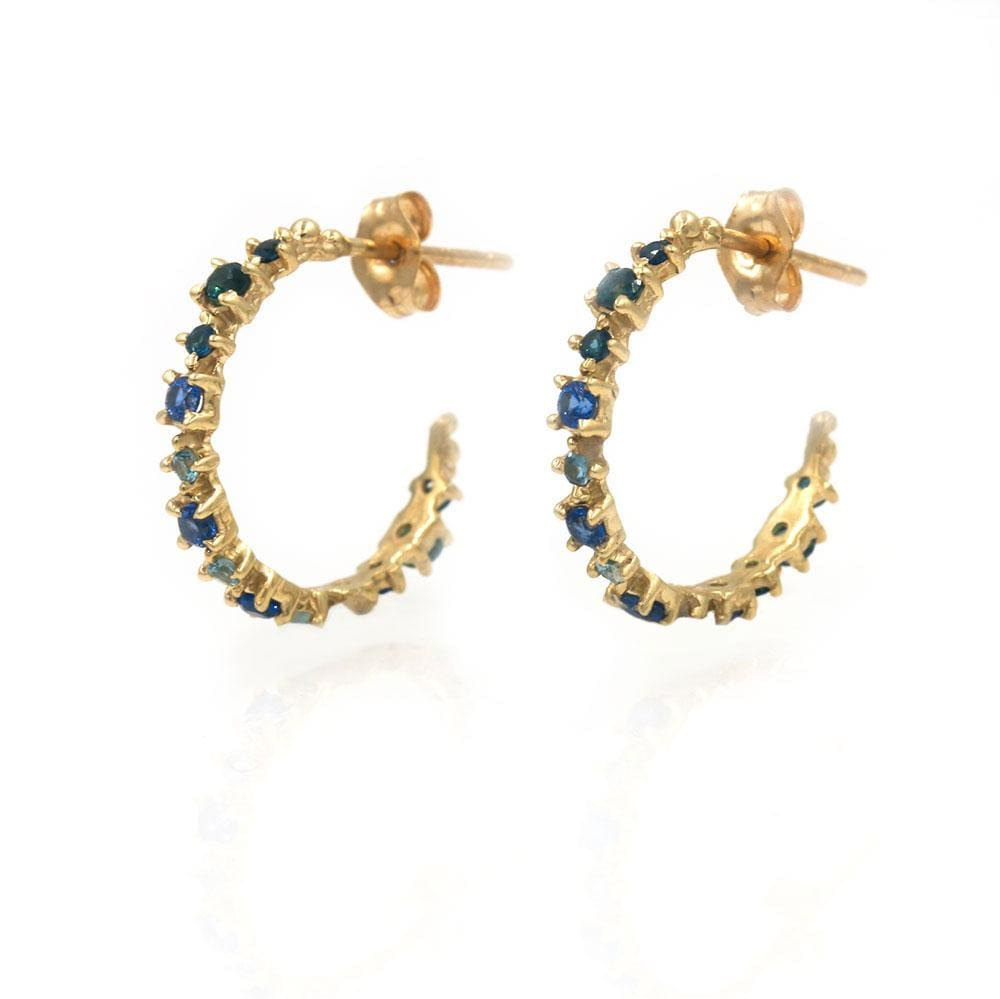 Sapphire Prong Hoops
