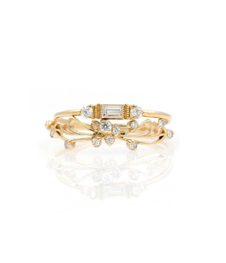 Butterfly Baguette Diamond Stack