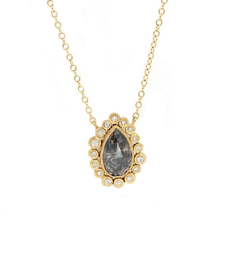 18k Black Diamond Pear Necklace