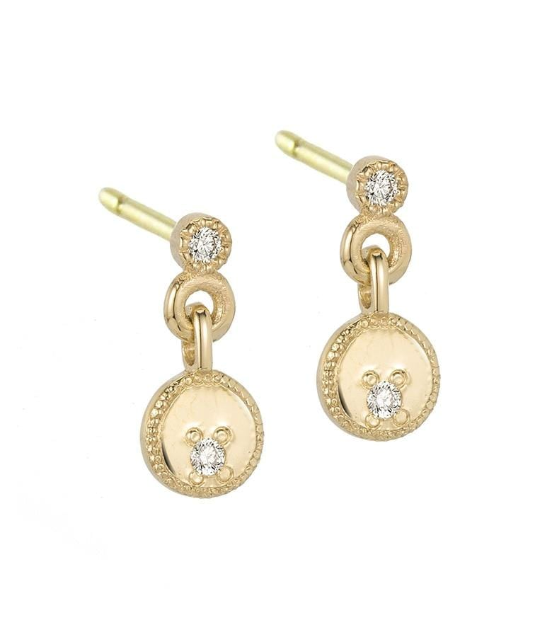 Circle Diamond Dangle Earrings