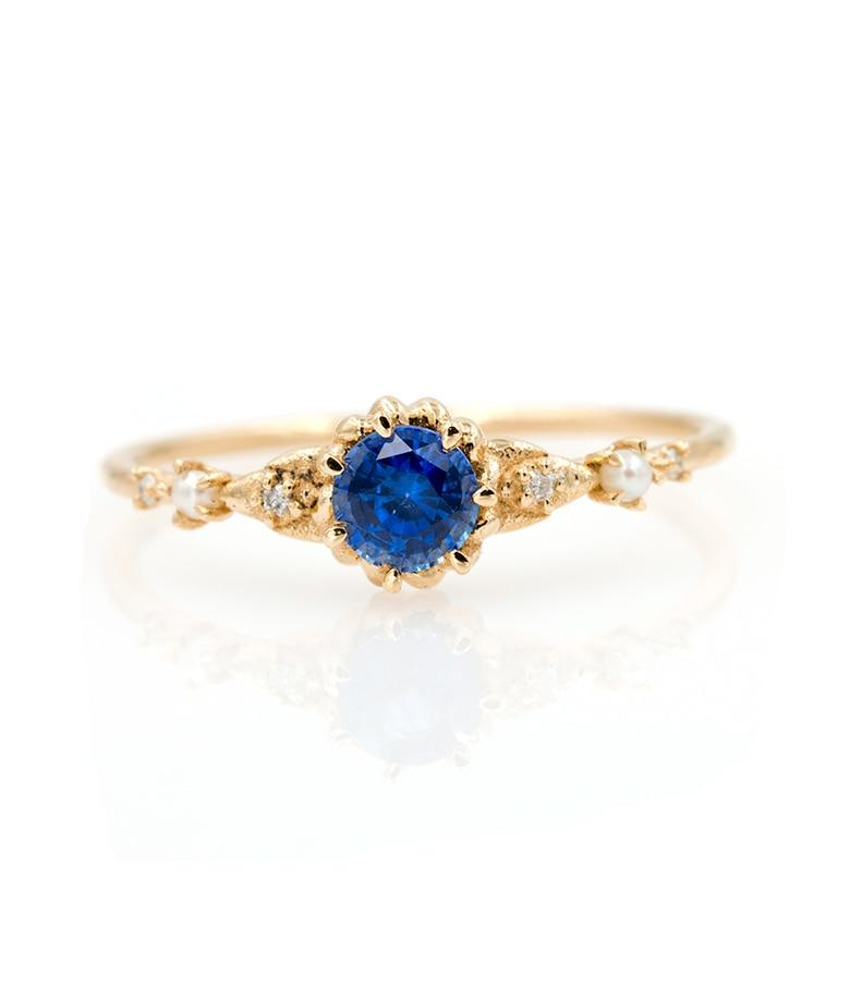 Prong Set Sapphire Diamond Pearl Ring