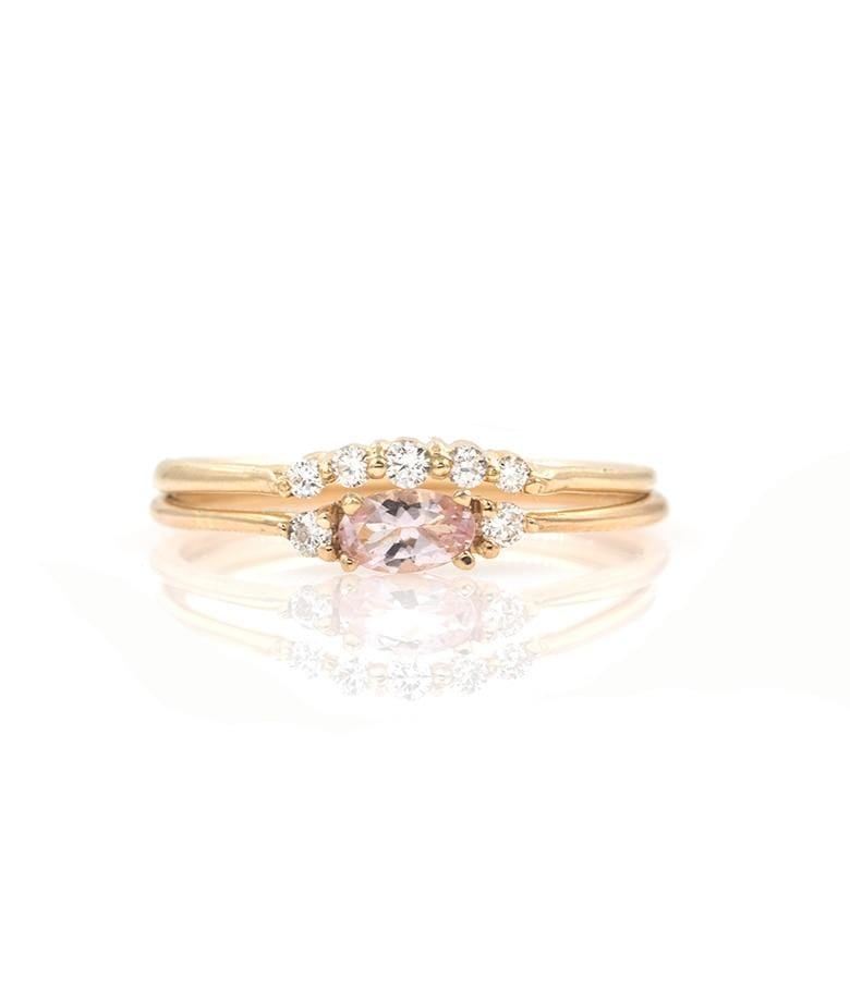 Classic Morganite Diamond Arch Stack