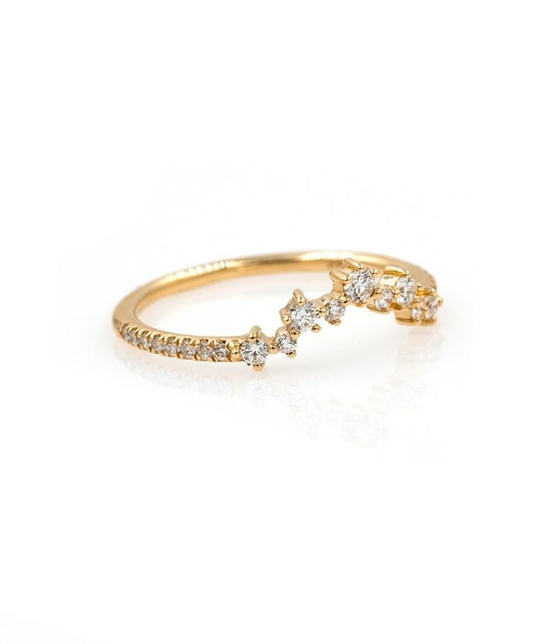 Diamond Cluster Arch ring with Pave