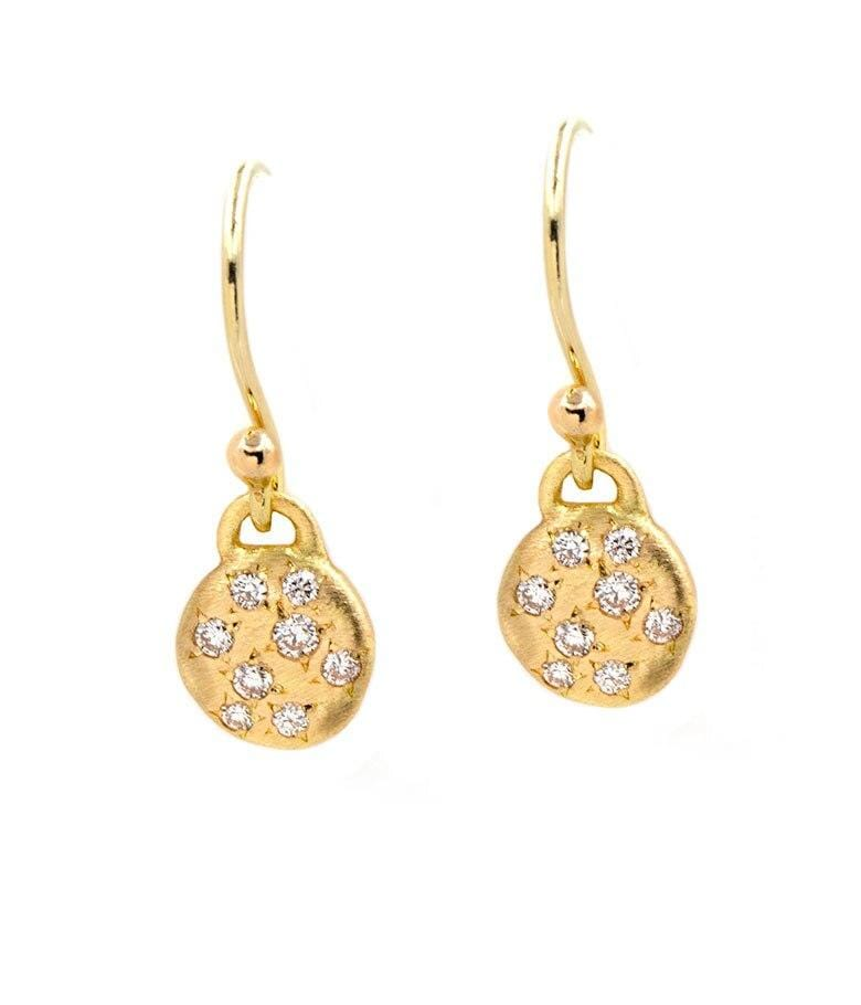 18k Dainty Diamond Disk Earrings