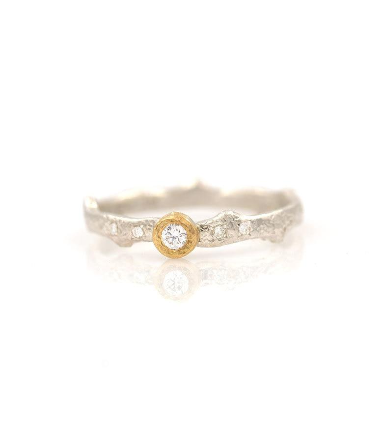 18k Diamond Bezel Branched Band