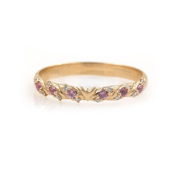 Pink Sapphire Garland Ring