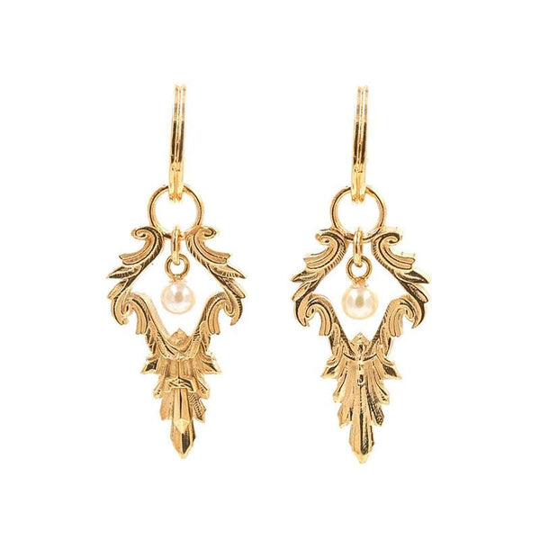 Swinging Pearl Ornate Earrings