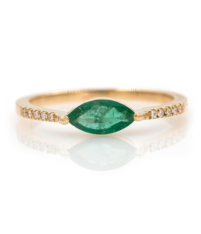East West Marquise Emerald Ring