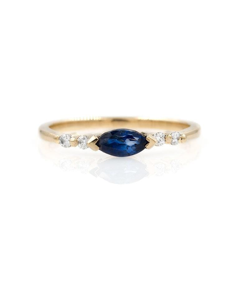 East-West Marquise Sapphire Diamond Ring - LoveAudryRose.com