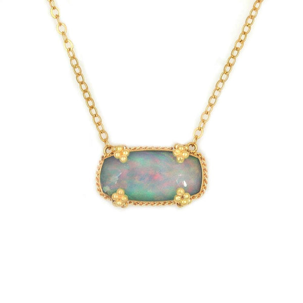18k Opal Golden Cluster Necklace