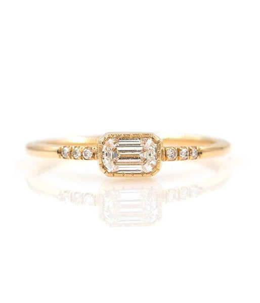 Emerald Cut Diamond with Pave