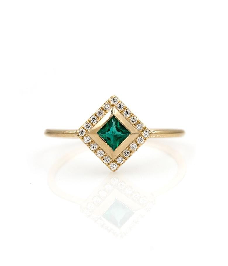 Princess Cut Emerald and Diamond Halo Ring