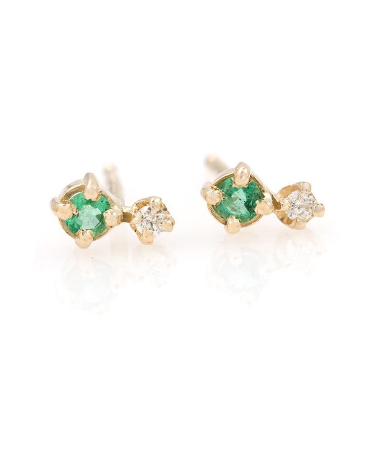 Tiny Emerald Diamond Studs* - LoveAudryRose.com