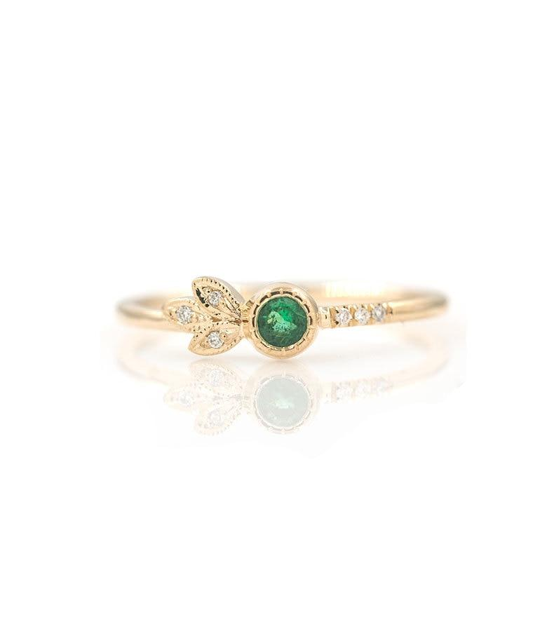 Emerald Diamond Leaf Ring