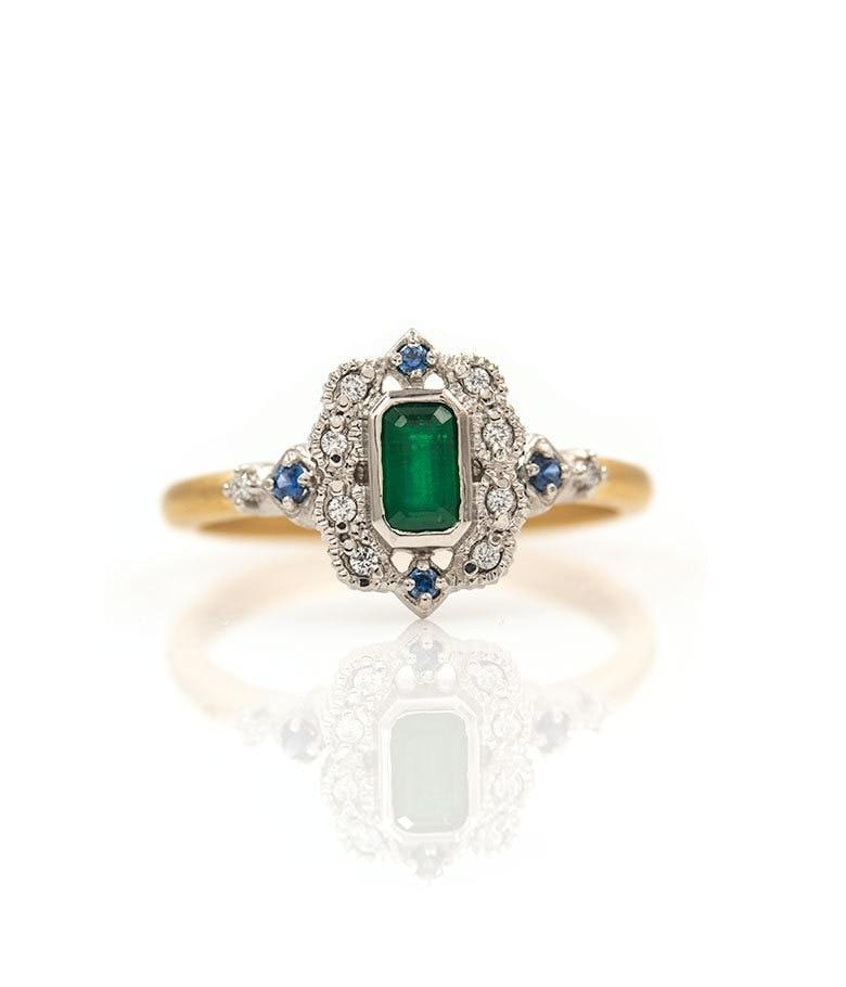 18k Two Toned Emerald, Sapphire, & Diamond Ring - LoveAudryRose.com