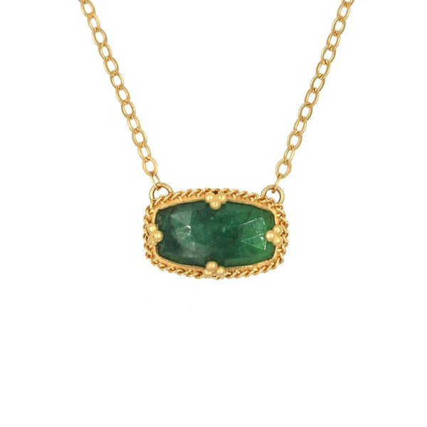 18k East West Emerald Golden Cluster Necklace
