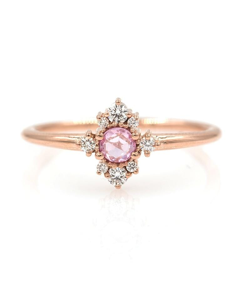 Rosy Pink Sapphire Cluster Ring