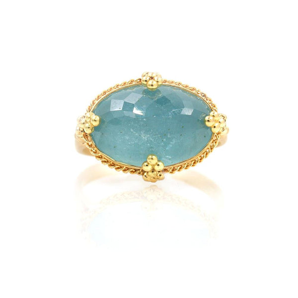 18k Inverted Aquamarine Golden Cluster Ring